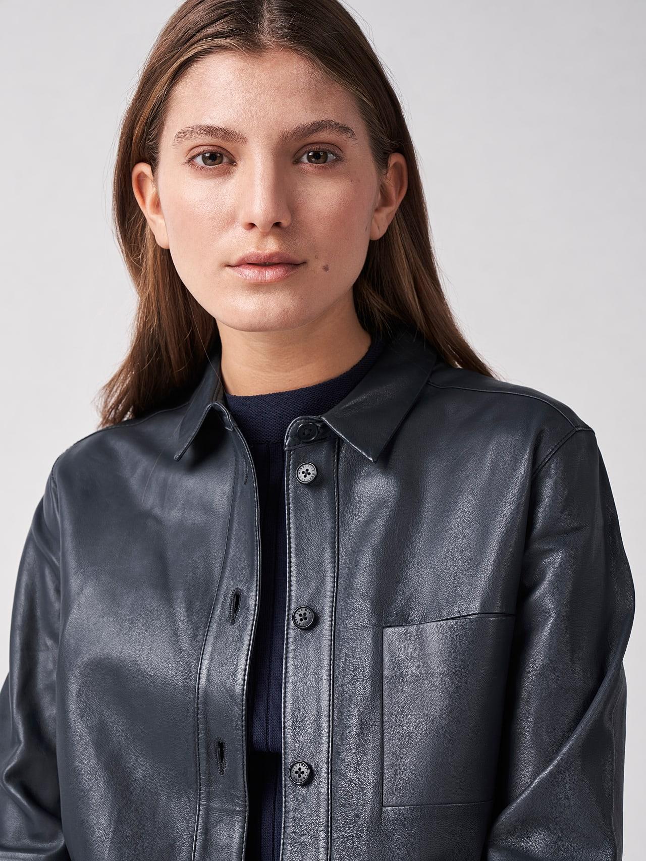 LEORD V1.Y5.01 Leather Shirt navy Right Alpha Tauri