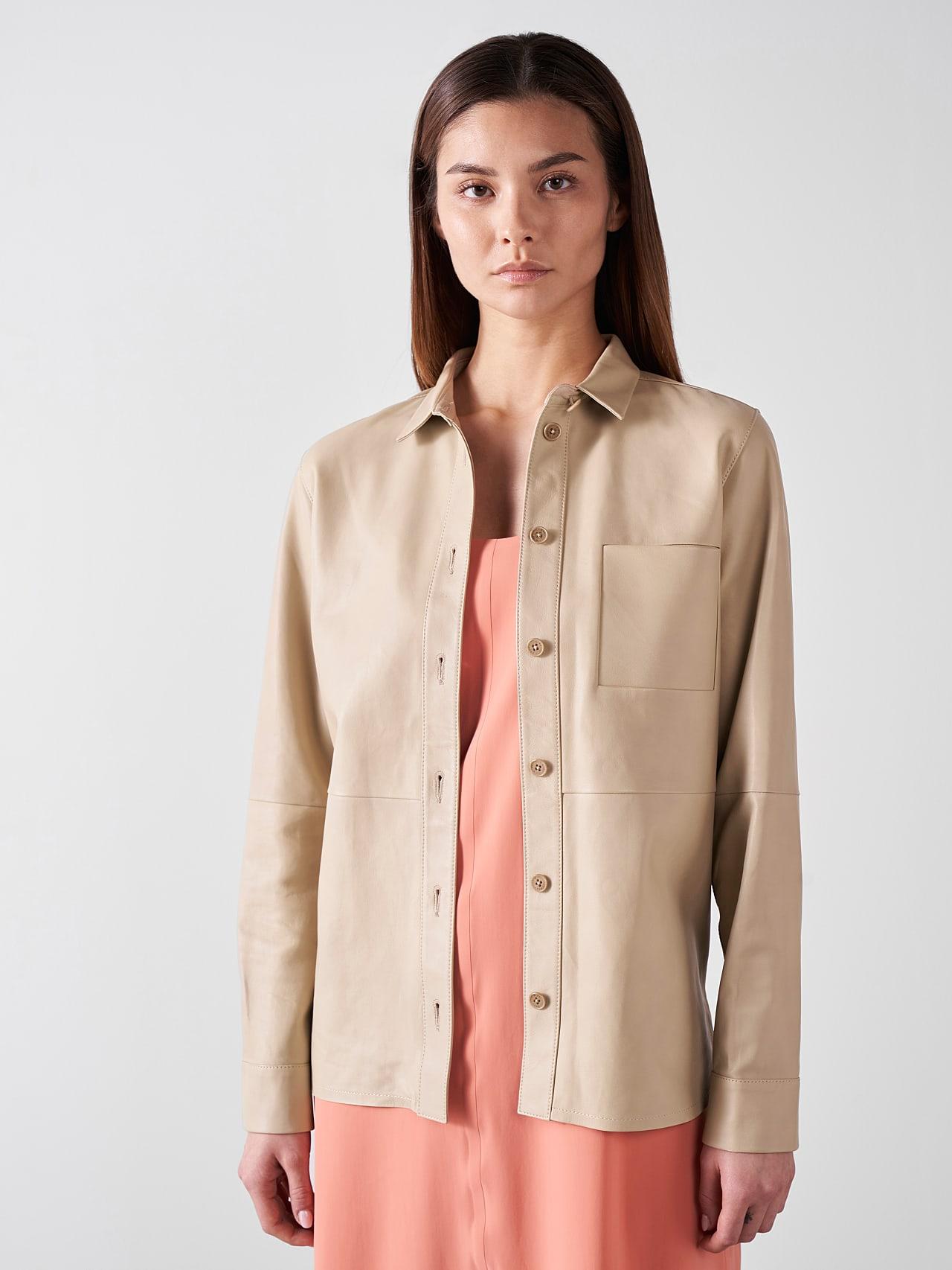 LEORD V1.Y5.01 Leather Shirt Sand Model shot Alpha Tauri