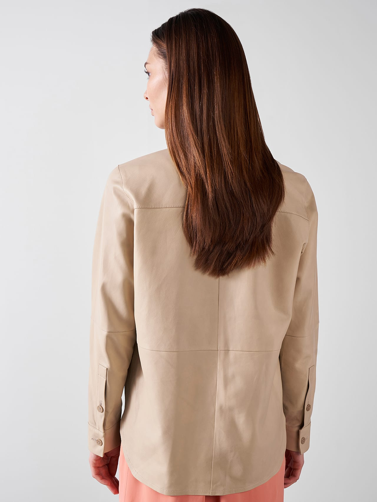 LEORD V1.Y5.01 Leather Shirt Sand Front Main Alpha Tauri