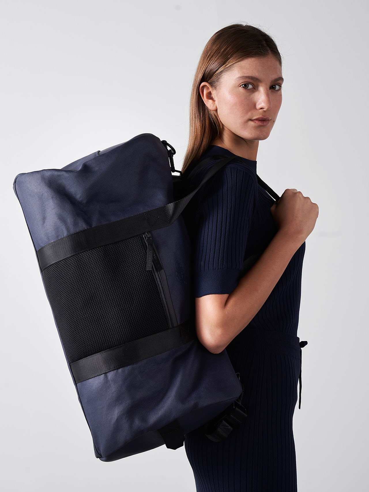 AWEE V3.Y5.01 Water-Resistant Duffle Bag navy Front Main Alpha Tauri